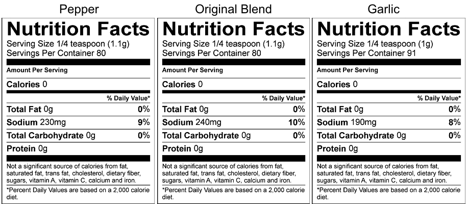 Spud Spikes Pepper, Original, and Garlic Blends Nutrition Facts Panel